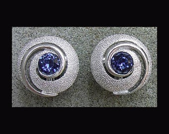 Vintage 1960s CROWN TRIFARI Clip-On Earrings Silver Swirl with Large Blue Stone