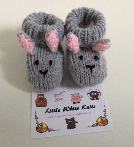 Rabbit knitted baby booties handmade gift girl baby boots easter baby shoes unisex gift bunny