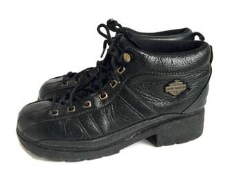 Vtg 90s Black Biker Chunky Heel Platform Harley Davidson Boots 9