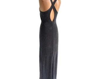 90s Sparkly Metallic Silver Maxi Full Length Dress
