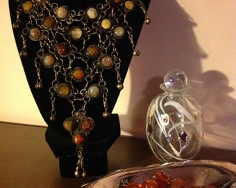 Vintage Gypsy Bib Necklace Embedded with Natural Stone Medallions in a Chain Mail Mesh