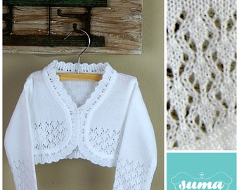 White or Ivory baby sweater, baby vest,, baby bolero, Christening / Baptism sweater, Christening jacket Ready to Ship