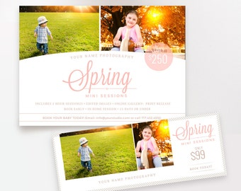 Spring Mini Session Template Marketing Board Flyer Plus FREE Timeline! for Photographers INSTANT DOWNLOAD
