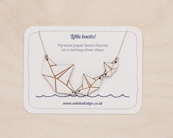 Paper boats necklace - sterling silver chain