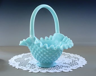 Fenton Milk Glass Hobnail Basket, TURQUOISE Hobnail Basket, Blue Hobnail Basket, Fenton Art Glass Ruffled Dish, Crimped  Bowl, Vintage 1950s
