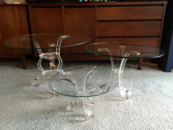 Vintage Lucite Table Bases Trio