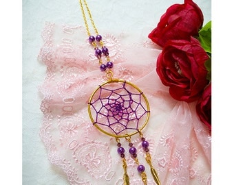 ON SALE - Dreamcatcher necklace ,Dream Catcher handmade crystal beads necklace in purple