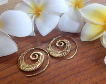 Brass Earrings, Spiral Earrings, Ethnic, Gypsy, Bohemian, Tribal, Jewelry
