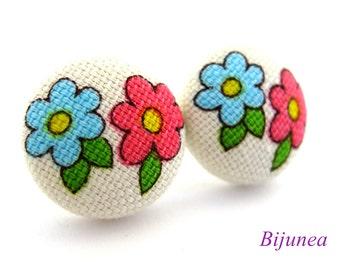 Flower earrings studs - Purple Flower posts - Flower studs - Spring Flower earrings - Flower jewelry - Earrings cherry sf902