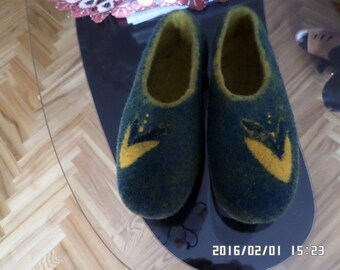 Handmade eco friendly felted slippers from natural wool