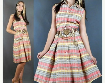 SALE Vintage 70's Pastel CHEVRON Striped Print Kick Pleated Shift Dress S-M