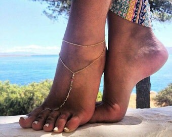 Silver Anklet  Gold plated with Semi-precious gems