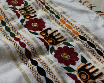 Embroidered White Tapestry