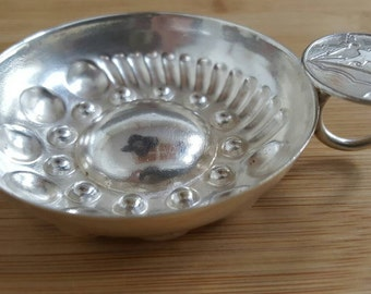 Antique Collectible Silver Plate Shell Bowl Wine Taster Cup