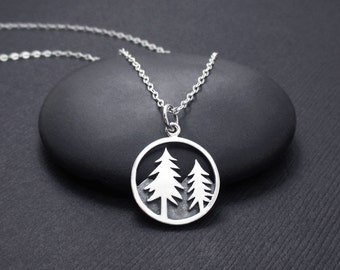 Mountain Scene Necklace Sterling Silver Tree and Mountain Necklace, Mountain Range Necklace, Pine Tree Necklace, Nature Jewelry