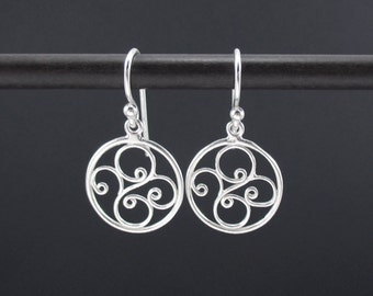 Swirl Earrings Sterling Silver Circle Earrings, Silver Filigree Earrings, Round Silver Dangle Drop Earrings