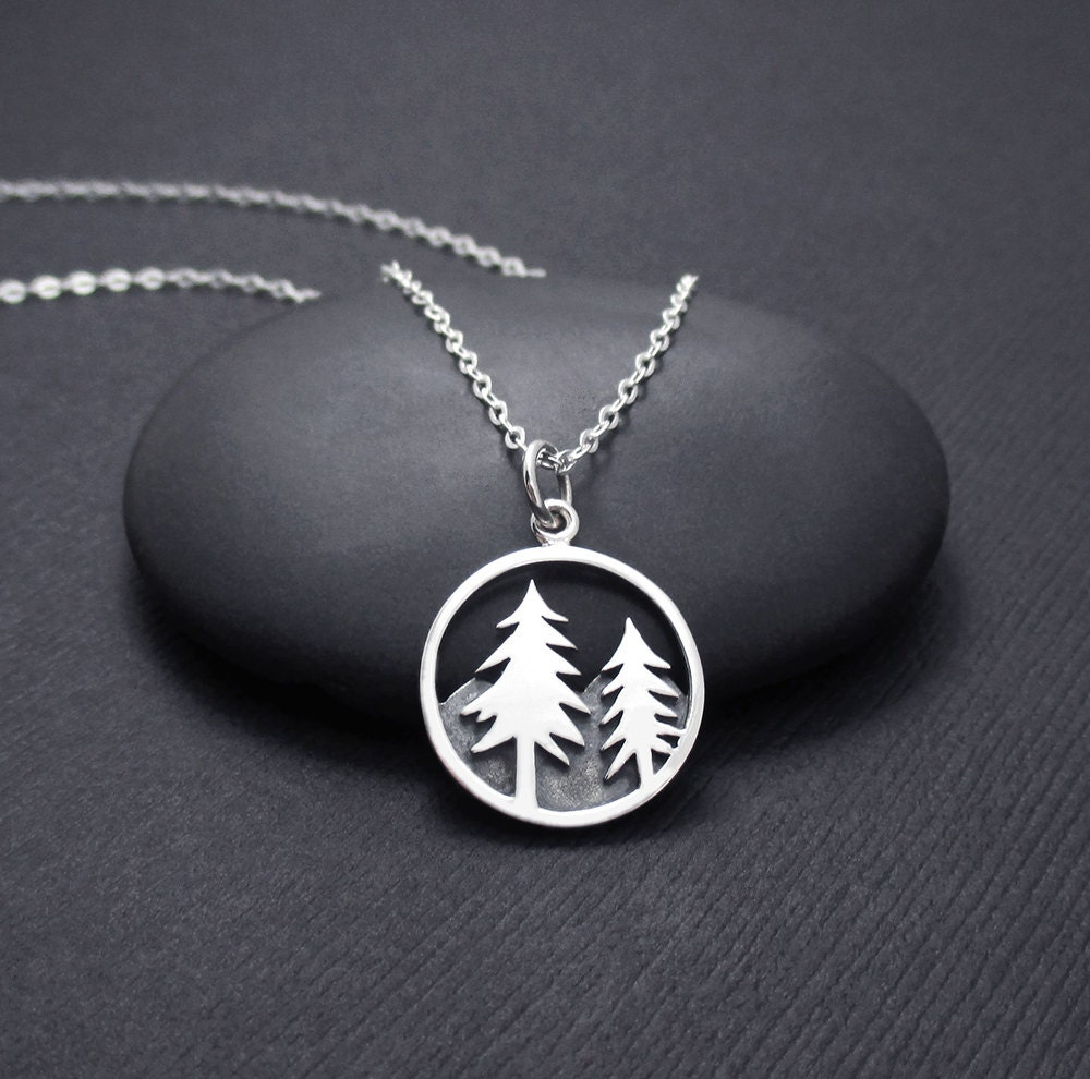 mountain scene necklace sterling silver tree and mountain. Black Bedroom Furniture Sets. Home Design Ideas