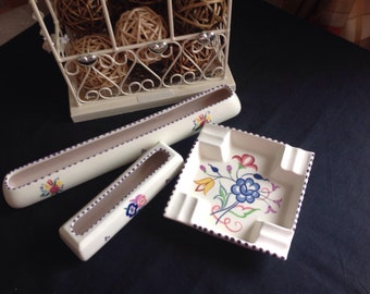 Retro Poole   Pair of flower troughs and ashtray