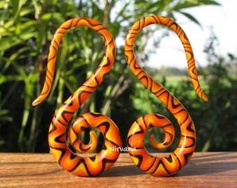 """Orange/Red/Yellow/ Black Snake Pattern Glass Swans 10g 8g 6g 4g 2g 0g 00g 7/16"""" 1/2"""" 9/16"""" 5/8"""" 2.5 mm 3 mm 4 mm 5 mm 6 mm 8 mm - 16 mm"""