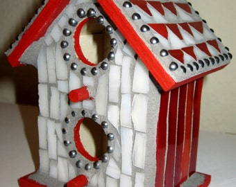 Red and White Stained Glass Mosaic Birdhouse