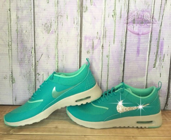 Women s Bling Nike Air Max Thea Green Teal by atouchofclassbylaur chic 342b3d6a0