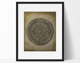Mayan Calendar Art Print - Wall Art  - Mexican Art