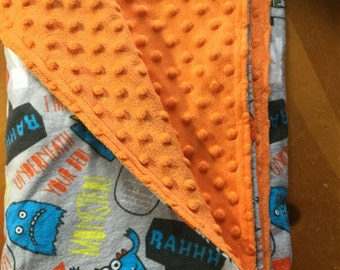 Flannel and minky dot monster baby blanket
