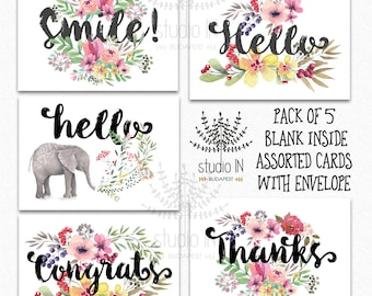 Pack of 5 assorted card, note cards, Card set, thank you card, hello card, set of cards, floral cards, greeting card set,