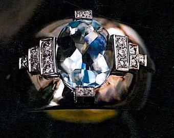 Unique Aquamarine Ring ART DECO Engagement Ring 'Chaillot' Aquamarine Engagement Ring White Gold Art Deco Gemstone Aquamarine Engagement