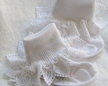 Ruffled Lace Socks, Baby Socks, Lace Socks, Frilly Socks, Little Girl's Socks, Toddler Socks, Christening, Easter Socks Ruffled Socks