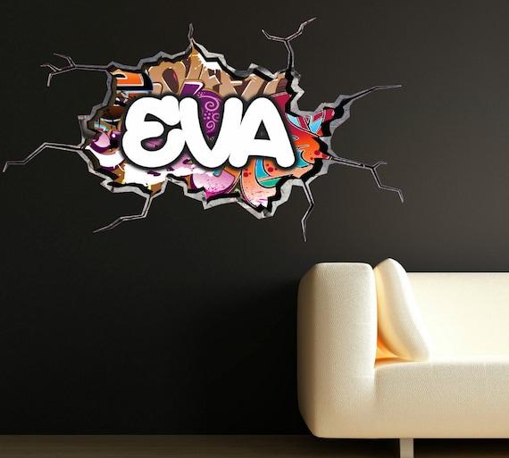 personnalis graffiti pr nom sticker fissur mur 3d vinyle mur. Black Bedroom Furniture Sets. Home Design Ideas