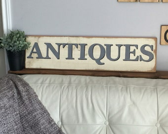 Distressed Antiques Sign - Wooden Sign - Vintage Style Sign - Antique Sign