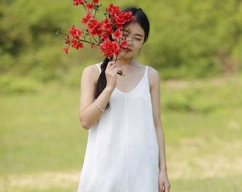 White silk Camisole slip tops   BonLife