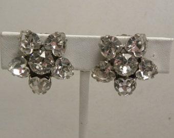 Signed Weiss Vintage Heart Shape Glass Stone Flower Earrings