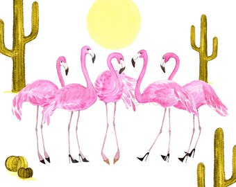 Flamingos Bridesmaids Fashion Illustration Watercolor Print