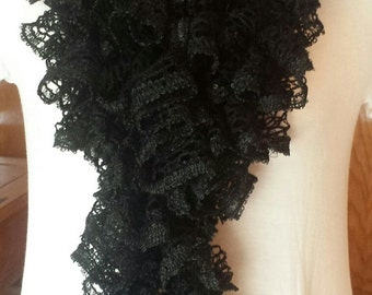 Black Ruffle Scarf with Sequins