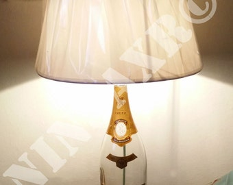 Empty Table Lamp glass Bottle Champagne Louis Roederer Cristal Magnum furniture design creative recycling upcycling man cave lampshade light