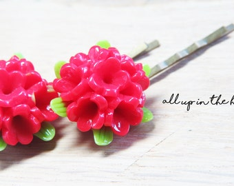 Red Bouquet Bobby Pins - Lilac Bobby Pins - Flower Bobby Pins
