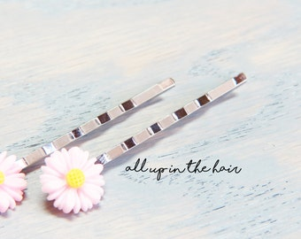 Pink Daisy Bobby Pins - Pink Flower Hair Pins