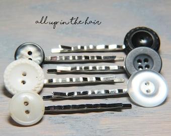 Grey Bobby Pins - White Bobby Pins - Vintage Button Bobby Pins - White Hair Pins - Grey Hair Pins