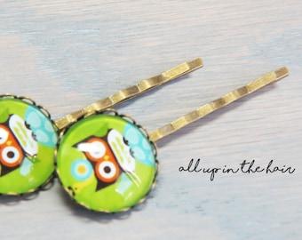 Owl Bobby Pins - Owl Hair Pins -  Snail Bobby Pin - Green Bobby Pins