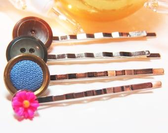 Bobby Pin Set - Hair Pin Set - Button Bobby Pin Set - Button Hair Pin Set - Pink Bobby Pin - Blue Bobby Pin - Vintage Button Bobby Pins