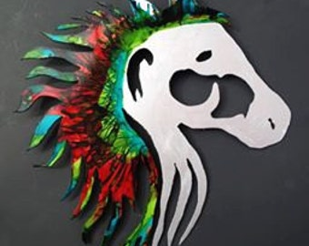 Hand Painted metal horse head home decor.