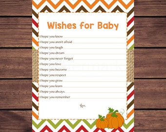 Fall Wishes for Baby Card,  Pumpkin Wishes for Baby, Well Wishes for Baby, Fall Chevron Dear Baby, Instant Download Printable
