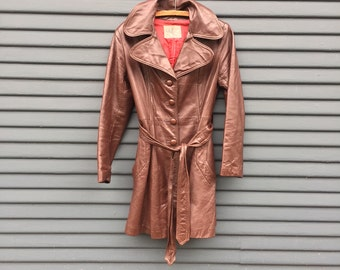 70's Brown Leather Trench Coat Sz: S