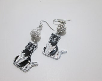 Cat  Earrings  With Fancy Beads on Surgical Steel wires / Item F-096