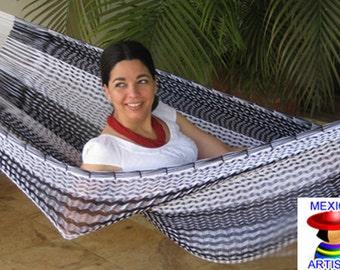 Hammock - 2 person - black/white stripes - outdoor - nylon - QUEEN model