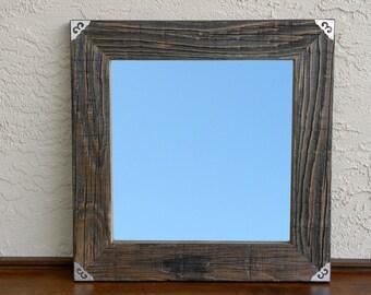 Reclaimed Wood Mirror with Silver Metal Corners. Rustic Home Decor. Eco Friendly. Framed Mirror. Modern Mirror. Bathroom Mirror. 20x20