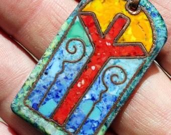 "Alexandr Emelyanov - Pendant ""Rune Algiz"". Copper, Hot Cloisonne Enamel, 100% Handmade"