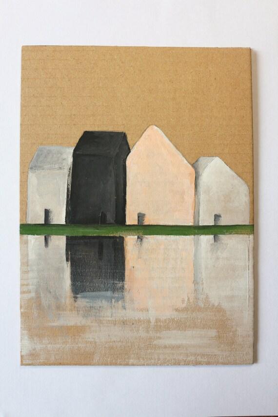 Art petit peinture acrylique originale sur carton brutLe